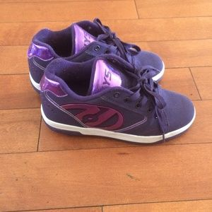 Purple Heelys youth sneakers on wheels
